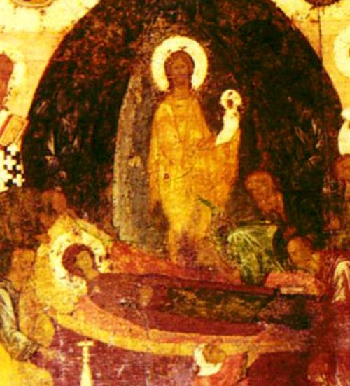 На иконе Успения Господь принимает душу Богородицы