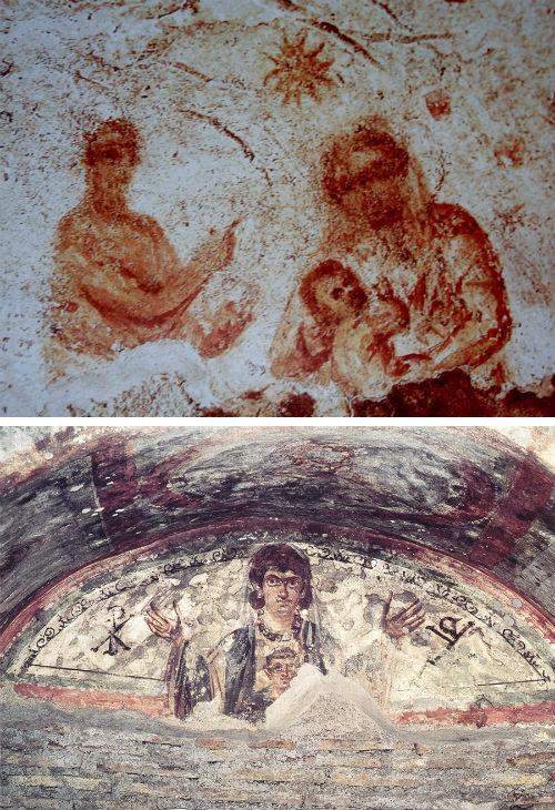 Изображение Богоматери в катакомбах Рима