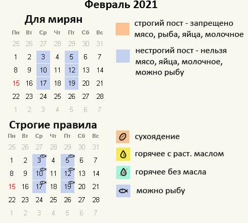 Постные дни в феврале