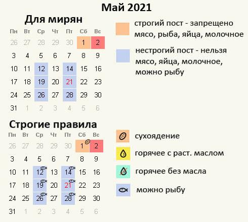 Дни поста в мае 2021 года