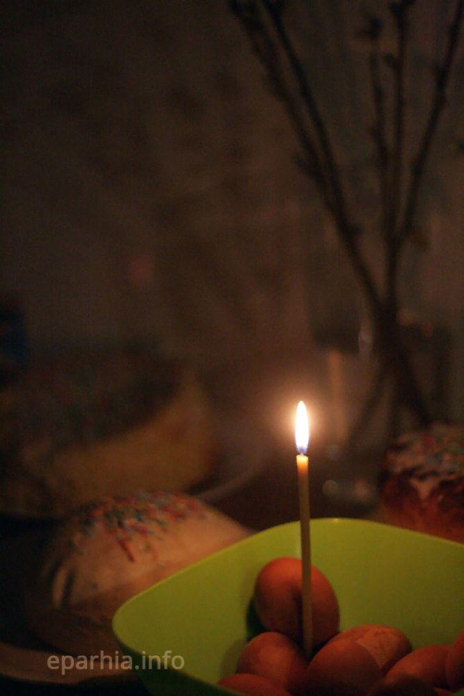 Пасха. Яйца, кулич, свеча
