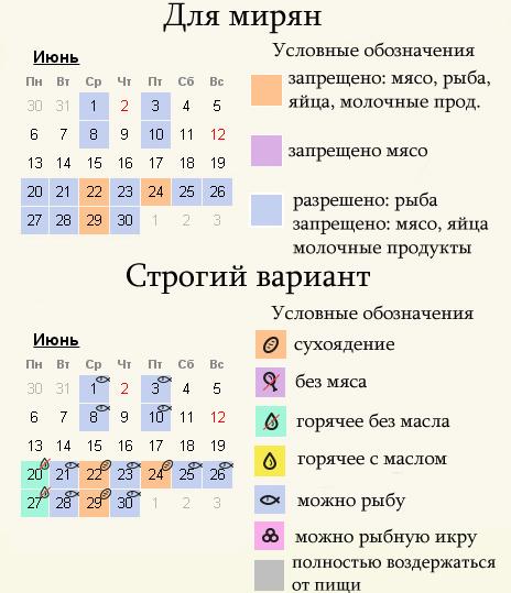 Июнь 2022 - календарь питания в пост для мирян и строгий