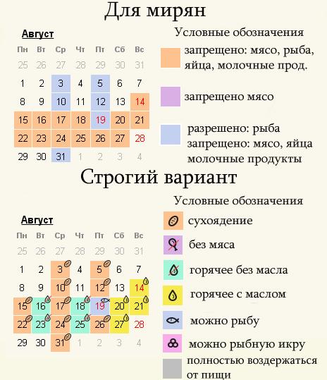 Август 2022 - календарь постов для мирян и монахов